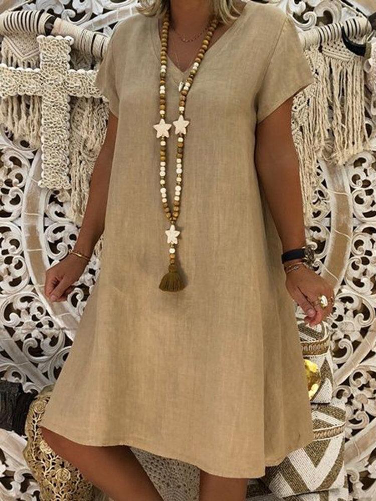 Women Casual Solid Color V-neck Short Sleeve Dress