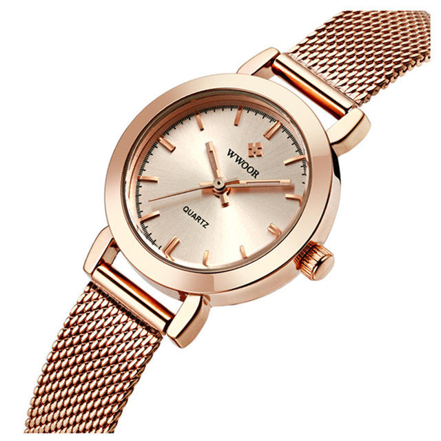 WWOOR 8823 Simple Design Elegant Ladies Wrist Watch Mesh Steel Clock Quartz Watches