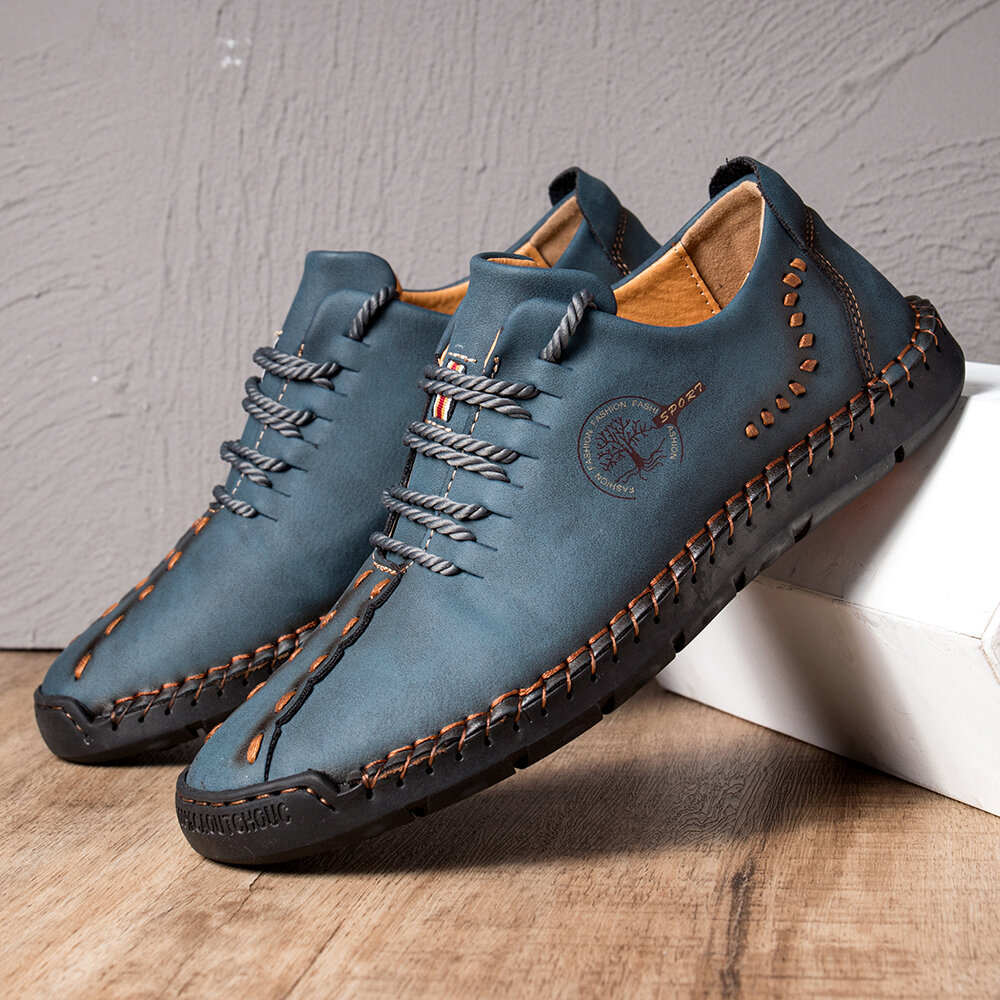 Men Hand Stitching Microfiber Soft Sole Casual Leather Shoes, Menico  - buy with discount