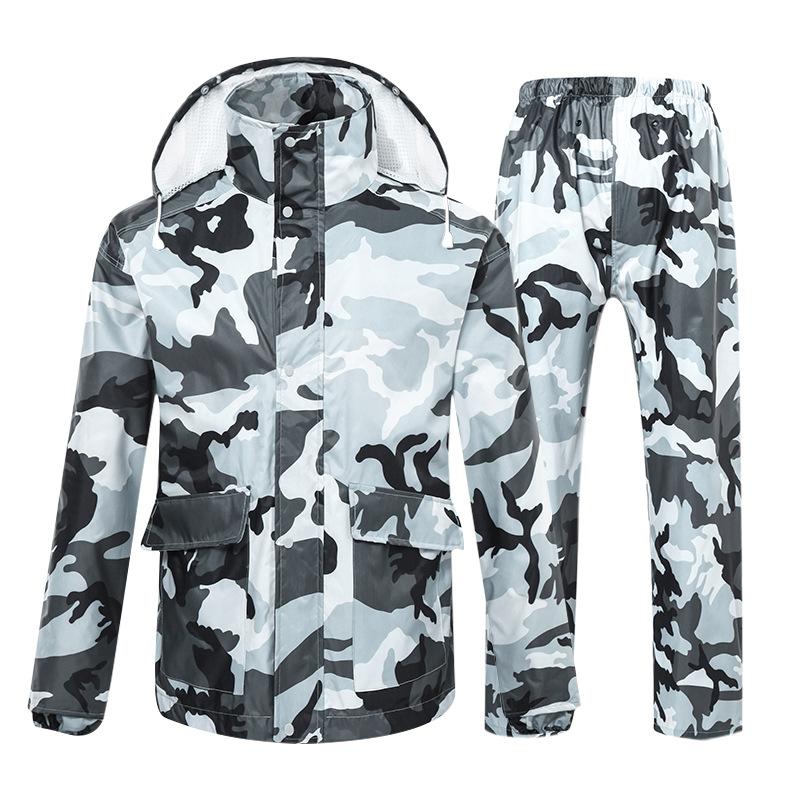 Camouflage Raincoat Suit Hiking Motorcycle Riding Thickened Waterproof Men Women Raincoats