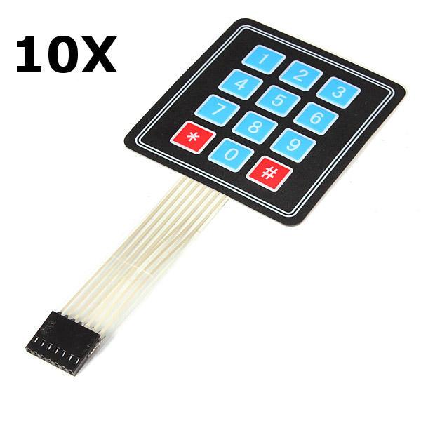 10Pcs 4x3 Matrix 12 Key Array Membrane Switch Keypad For Arduino