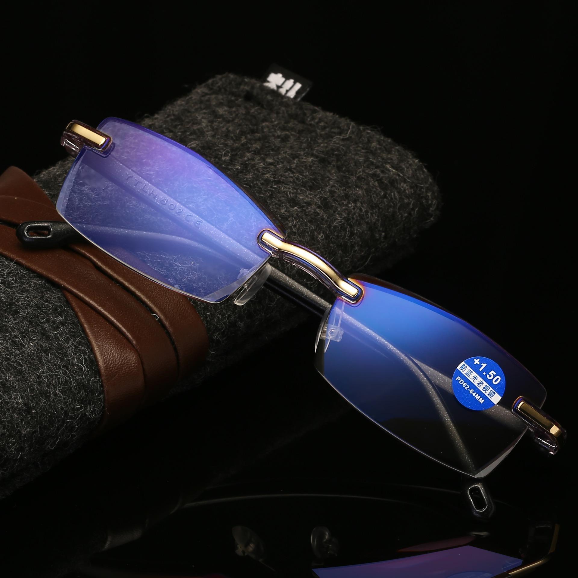 Frameless Diamond Trimming Reading Glasses Anti-blue Light Neutral Reading Glasses With Glasses Box