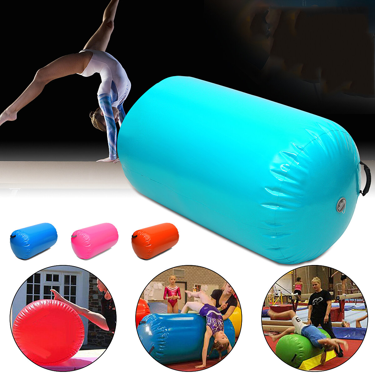 25.5x39.3inch Inflatable Airtrack Home Roller Small Airtrack Gymnastics Mat Cylinder Gym Training