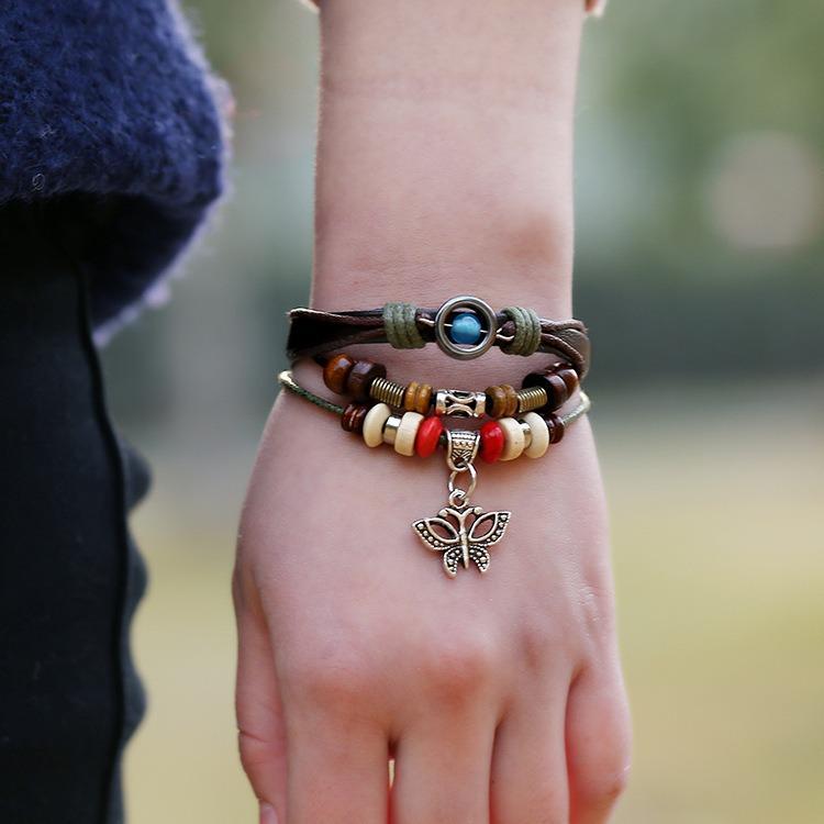 Vintage Butterfly Cowhide Bracelet Weaving Multi Layer Bracelet Retro Women Bracelet