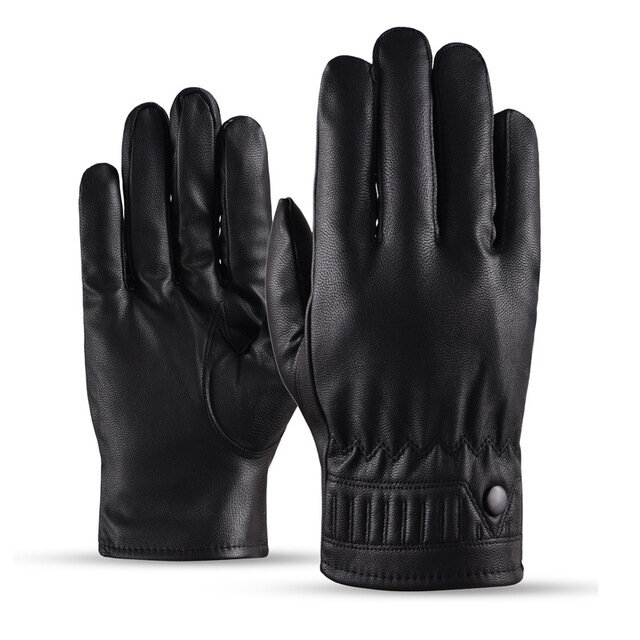 Leather Gloves Men's Season Ski Gloves Plus Waterproof Cycling Electric Car Gloves Pu Female Leather Gloves фото