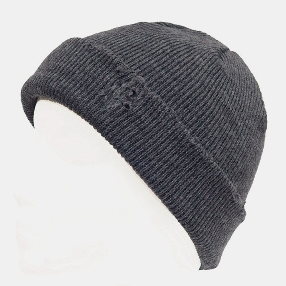 Men Broken Hole Style Autumn Winter Keep Warm Thickened Solid Color Landlord Skull Hat Knit Hat