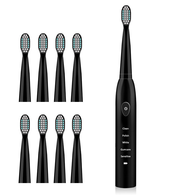 5 Gears Electric Toothbrush Waterproof Tooth Brush USB Rechargeable with Timer Charging Indicator with 8 Replacement Head