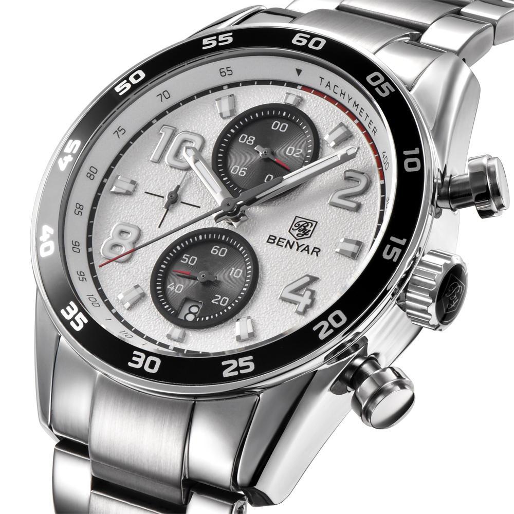 BENYAR 5126M Stainless Steel Luminous Hands Waterproof Chronograph  Business Men Watch Quartz Watch