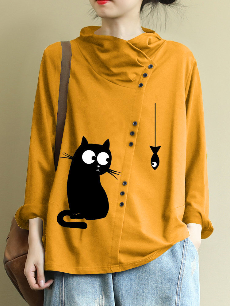 Plus Size Cartoon Cat Print High Collar Casual Blouse with Button