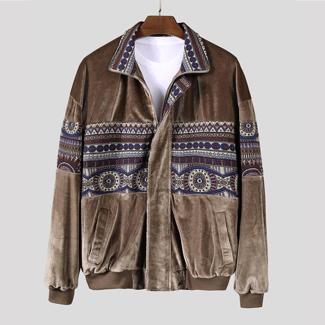 Men Ethnic Pattern Stitching Velvet Vintage Jacket