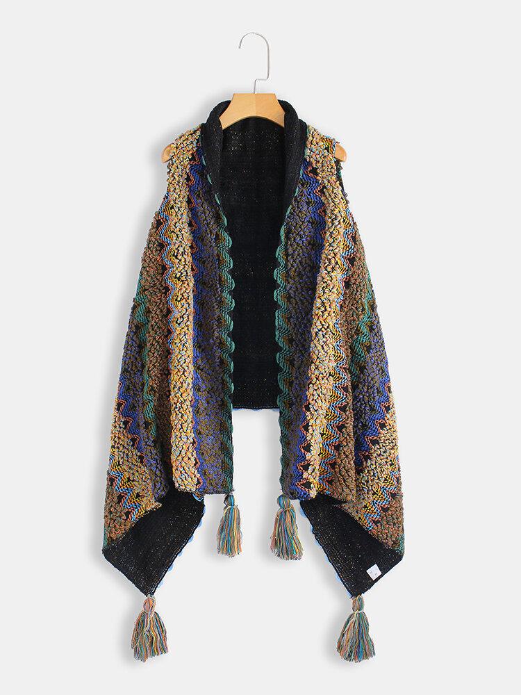 Plus Size Women Winter Sleeveless Cloak Vest Tassel Knit Poncho Cardigans