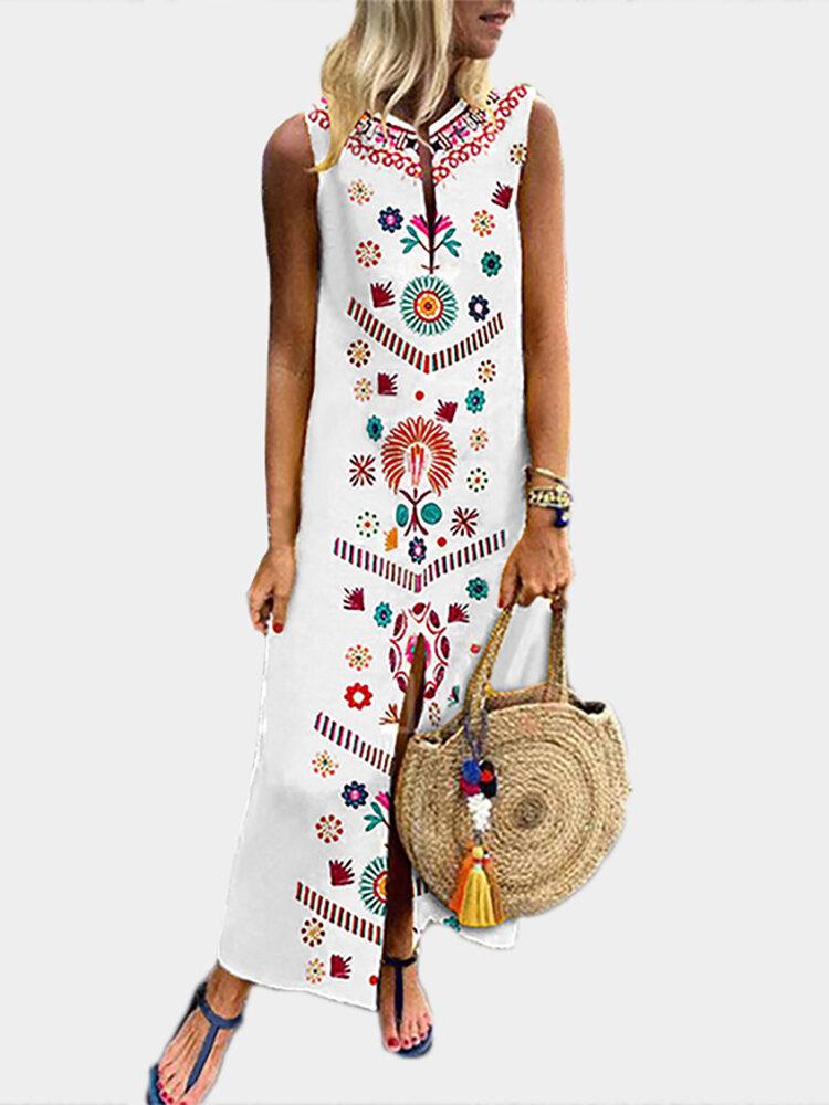 נשים שמלת קיץ פרחונית בוהמית עם צווארון V מודפס