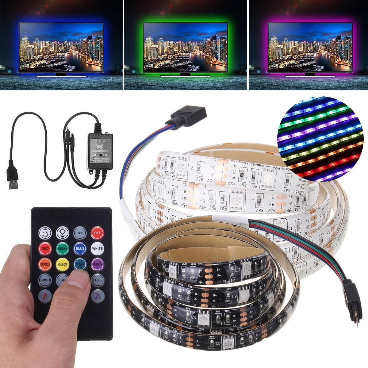 Đèn led chống nước PCB 1M SMD 5050 RGB Điều khiển giọng nói 30LED Dải đèn nền cho TV