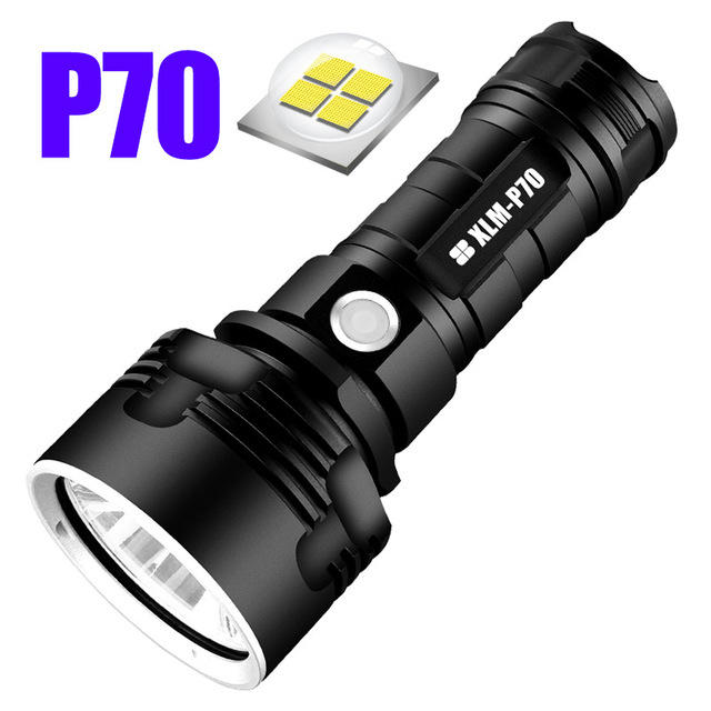 P70/L2 3Modes Super Bright Light LED Flashlight Outdoor USB Rechargeable Waterproof Flashlight 26650 Flashlight