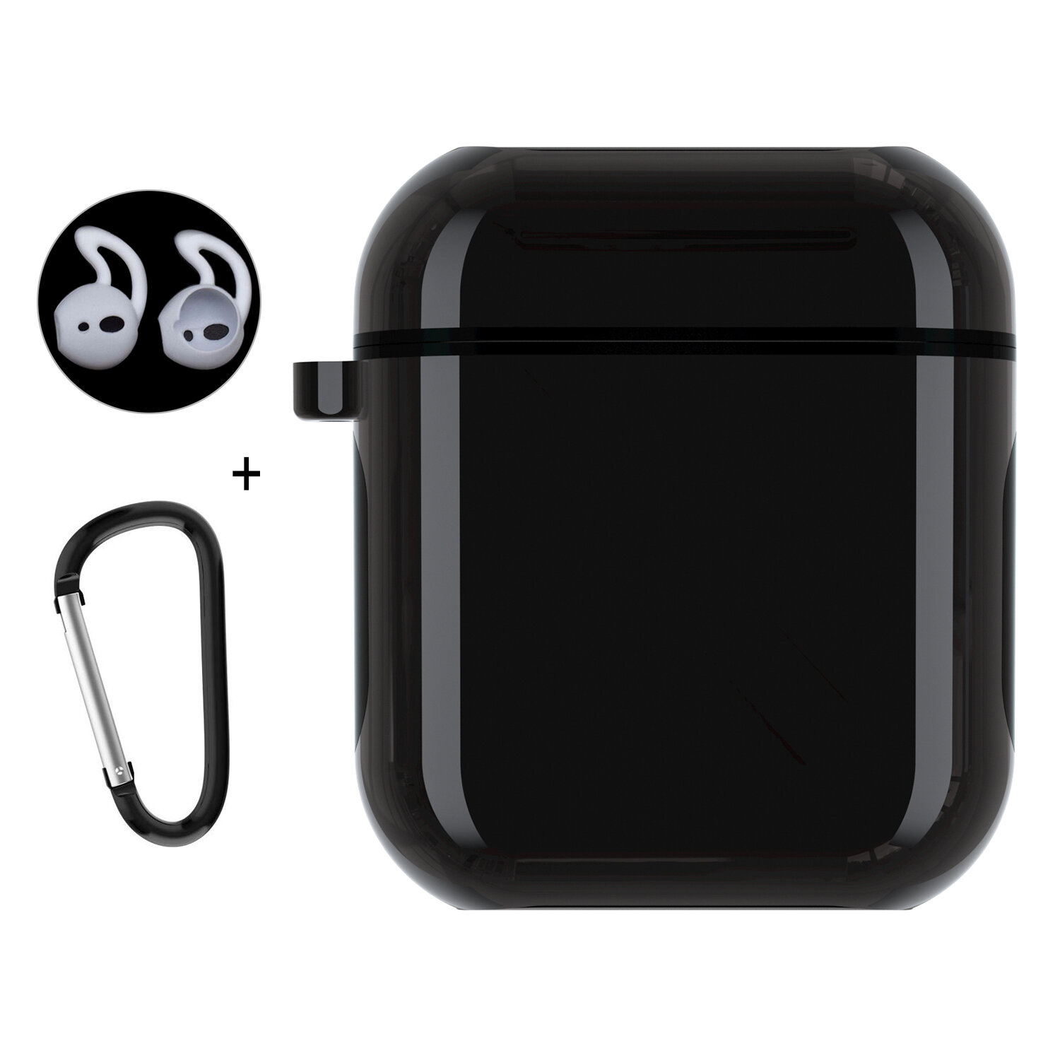 Enkay Dustproof Earphone PC Protective Case + Ear Tips + Anti-lost Hook For Apple AirPods 1 & Apple AirPods 2
