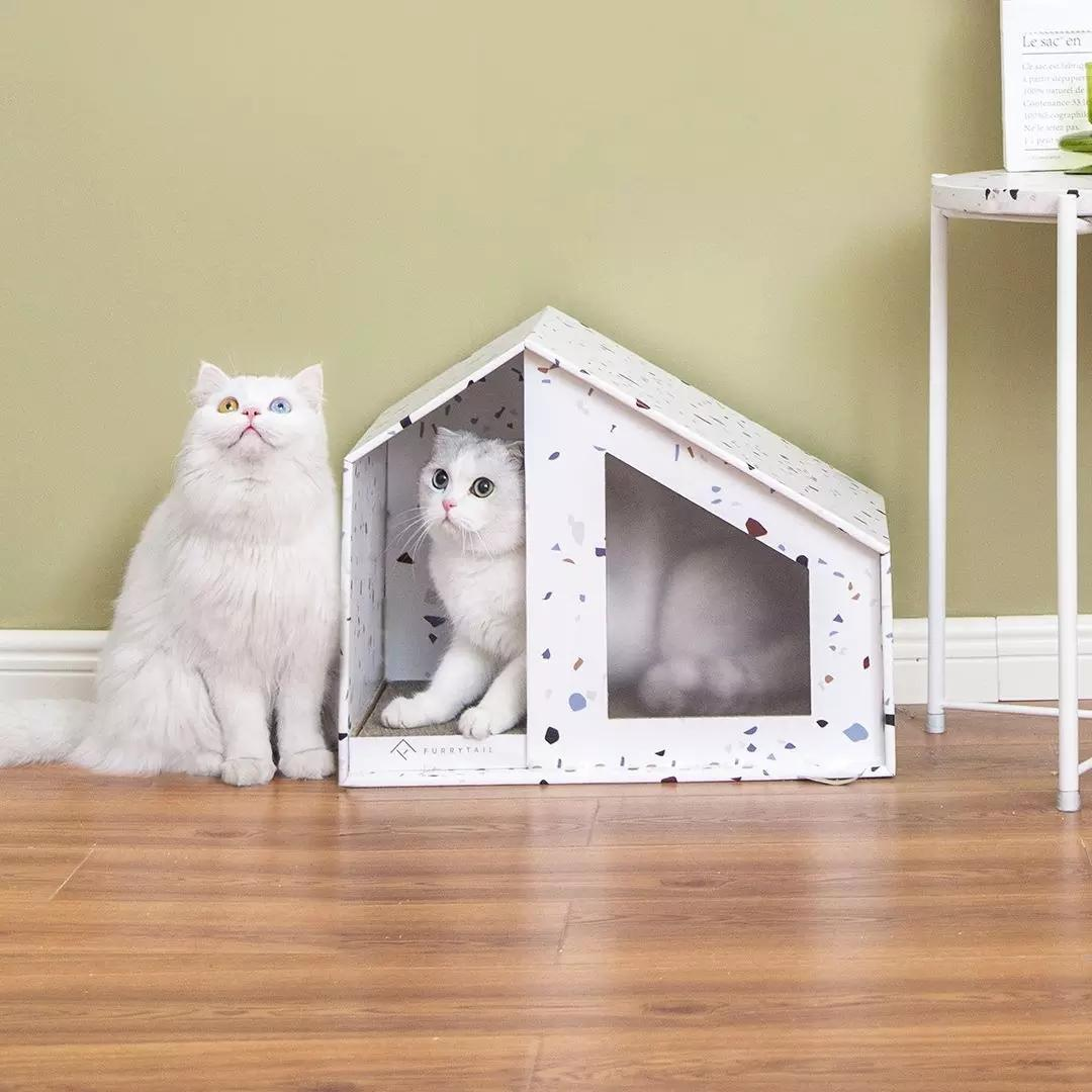 Furrytail Ped Bed Comfortable Cats House Two Sizes Of Pet House Foldable Corrugated Paper House  Cats DIY Scratching Board Pad Claw Care Pet Cats accessories From Xiaomi Youpin