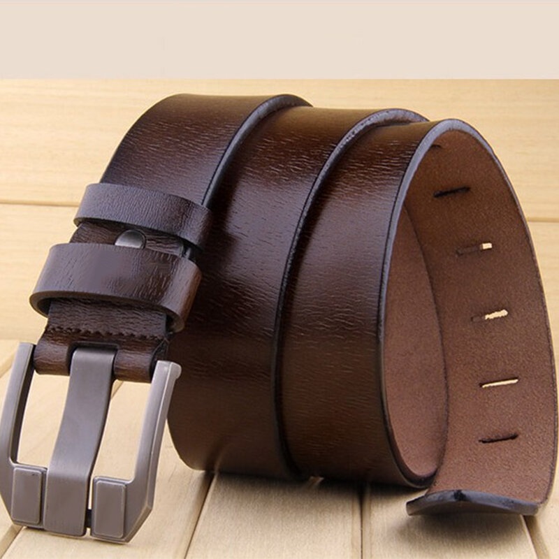 Dress Leather Belts Men/'s Belt Buckle Waist Strap Genuine Casual Waistband Pin