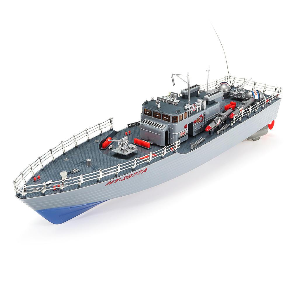 1/115 2.4G EHT-2877 मिसाइल विध्वंसक RC बोट 4km / h दो मोटर और हल्के वाहन मॉडल के साथ