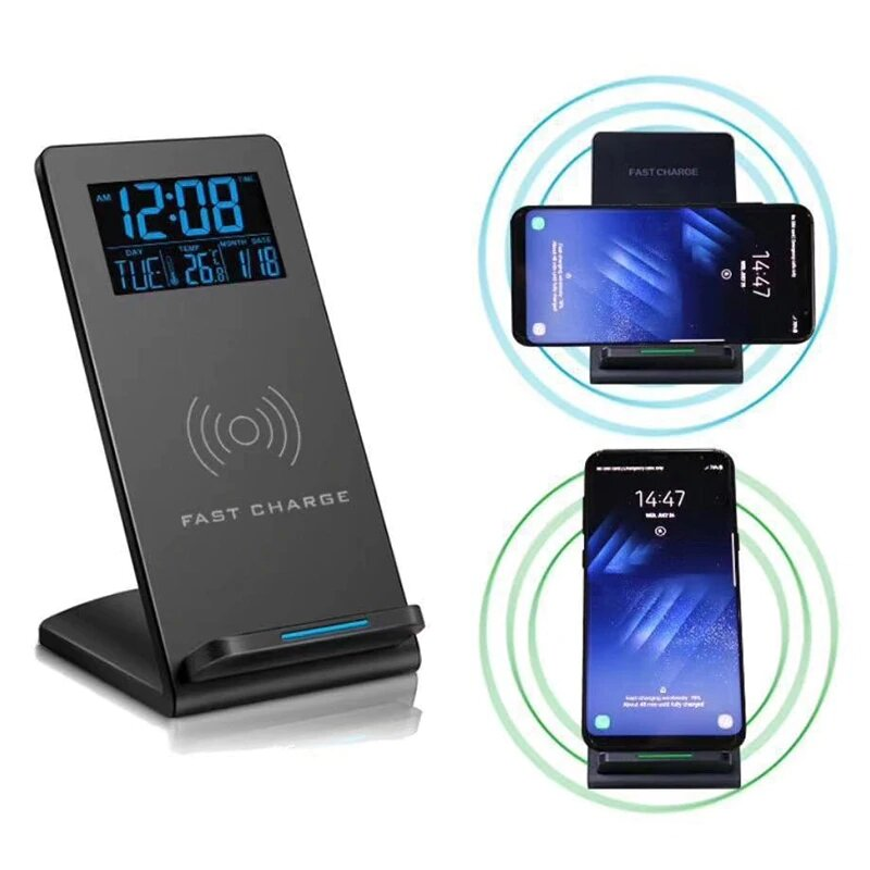 Loskii DC-01S Electric LED 12/24H Alarm Clock With Phone Wireless Charger Table Digital Thermometer Display Desktop Clock