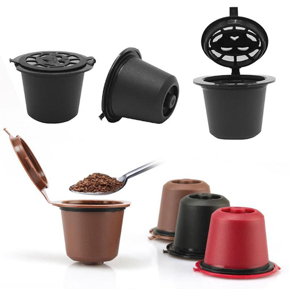 6Pcs/Set 50-100ml Refillable Coffee Capsule Cup Reusable Coffee Pods w/ Coffee Spoon Brush for Nescafe Dolce Gusto Brewe фото