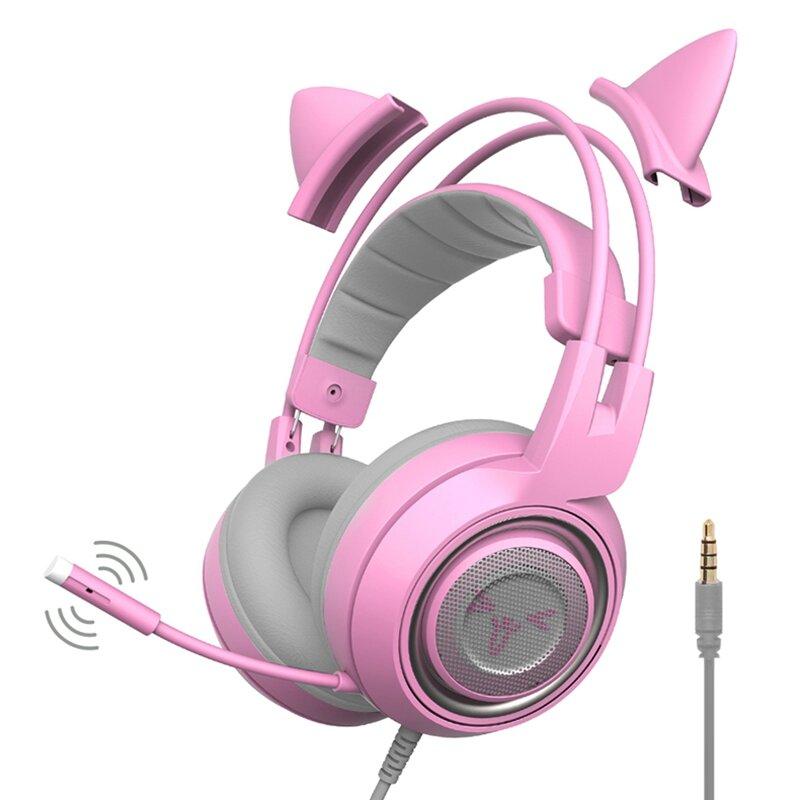 SOMiC G951S 3.5mm + USB DJ Deep Bass Gaming Headphone Gato Auriculares Auriculares con Micrófono para Computer Profession Gamer