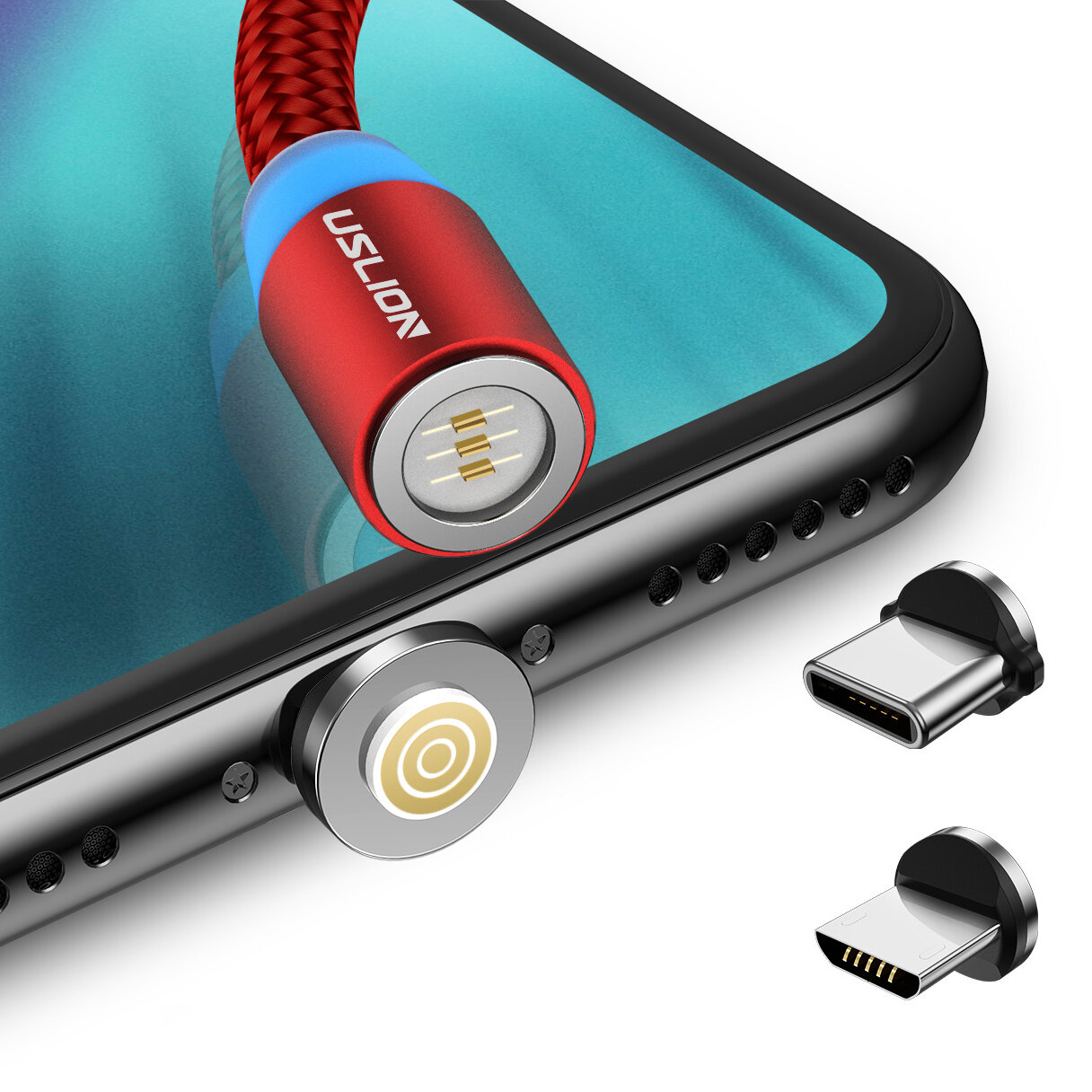 USLION 360 Degree Rotate Round Magnetic LED TPE Fast Charging 3A 1M Type-C Micro USB Data Cable for Samsung S10+ Xiaomi Redmi Note8 HUAWEI P30Pro