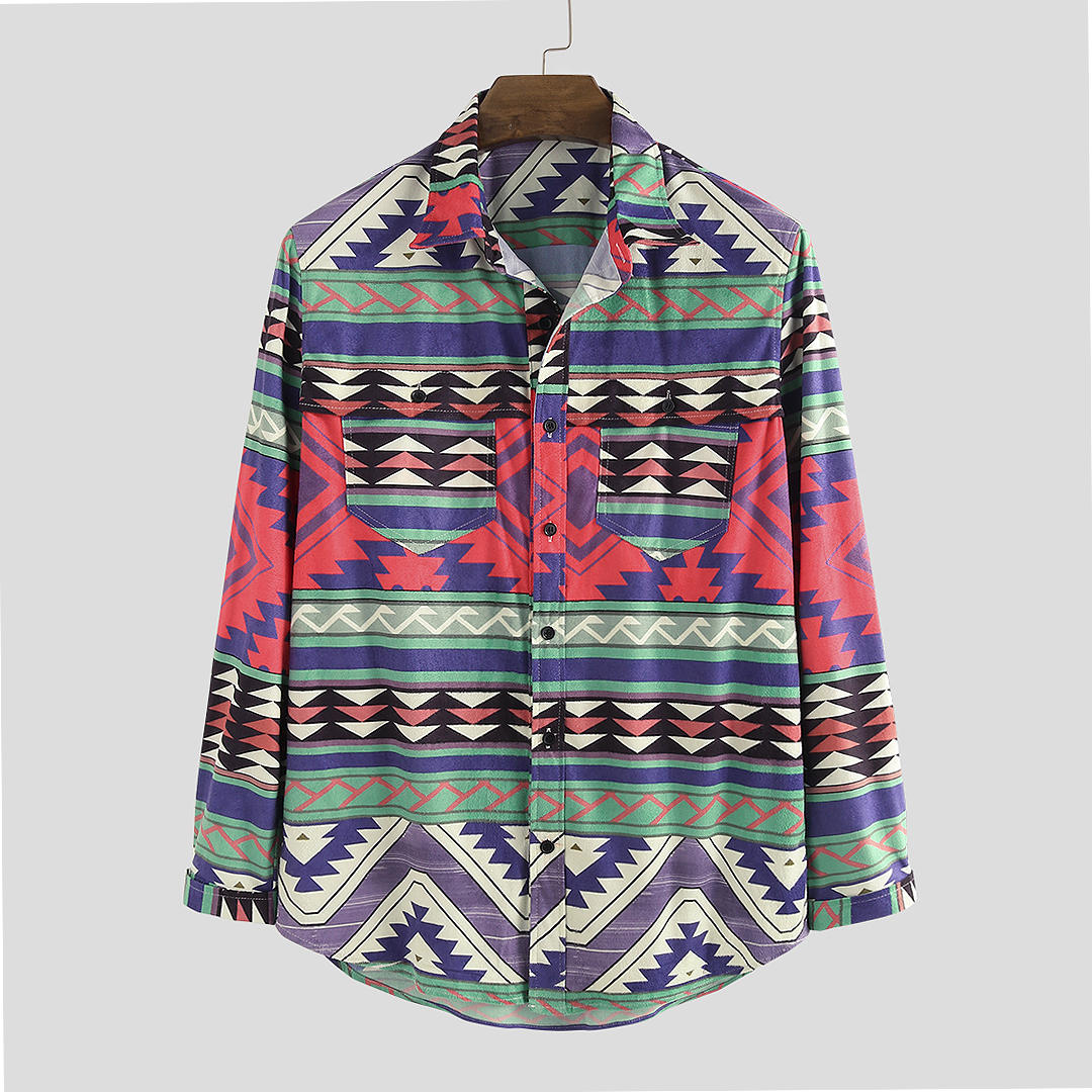 Mens Hit Color Ethnic Style Double Chest Pocket Long Sleeve Shirts