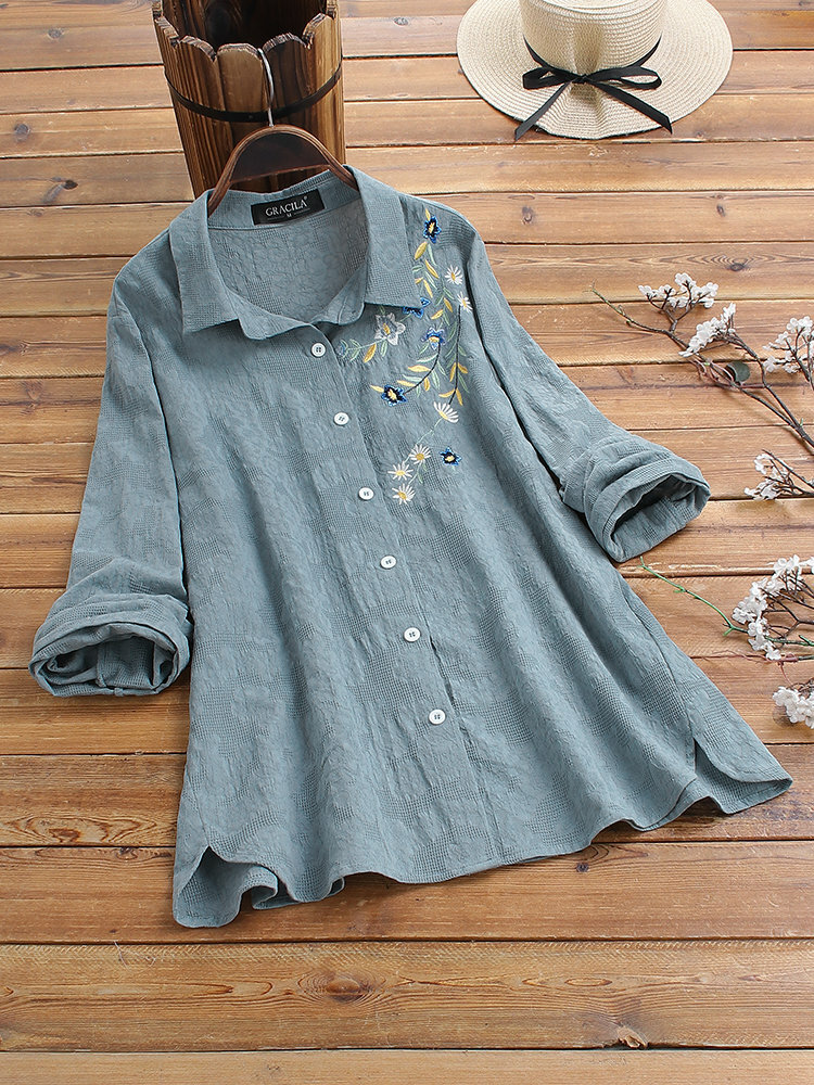 Flower Embroidery Irregular Hem Cotton Shirts Casual Blouse фото