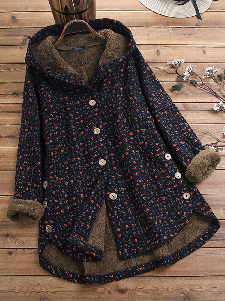 Women Vintage Floral Print 3/4 Sleeve High Low Button Down Side Pockets Coats
