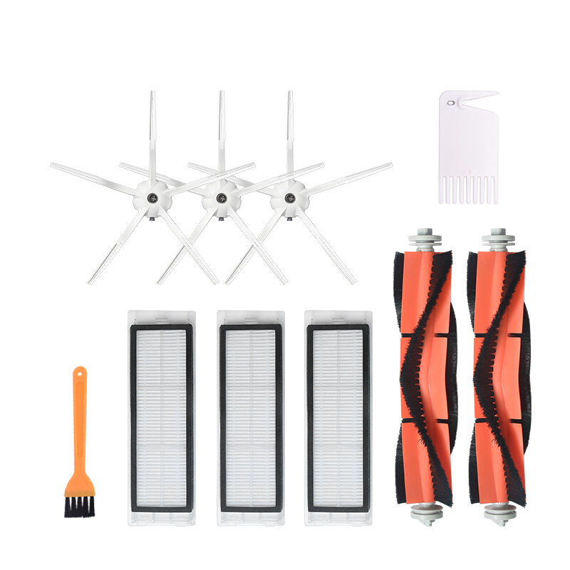 10 pcs Penggantian untuk XIAOMI Roborock S6 S5 E35 E2 Vacuum Cleaner Bagian Aksesoris 3 * 5-arm Side brushes 3 * Filter 2 * Roll Brushes 1 * Yellow Brush 1 * White Comb