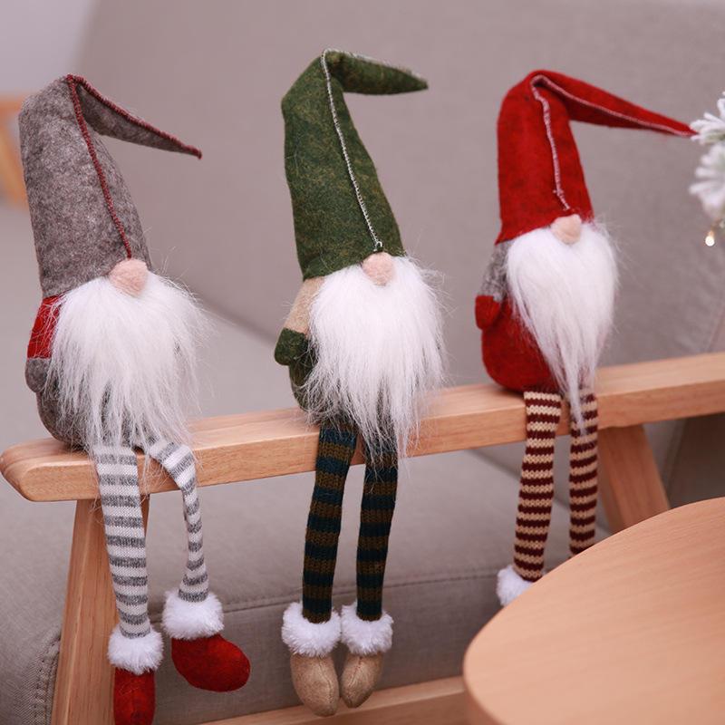 Loskii Christmas Decorations No Face Santa Claus Doll Pendants Window Ornaments Cartoon Xmas Hanging Tree Decor Gift for Children