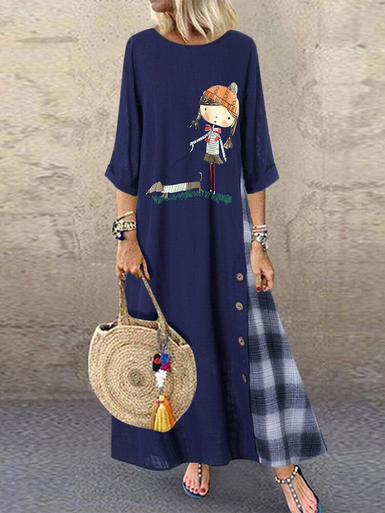 Women Button Cartoon Plaid Patchwork High Low Hem Casual Dress