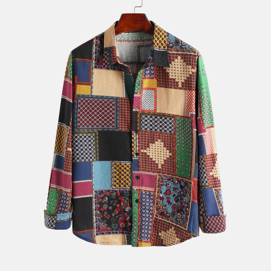 Men 100% Cotton Patchwork Ethnic Style Casual Long Sleeve Lapel Shirts