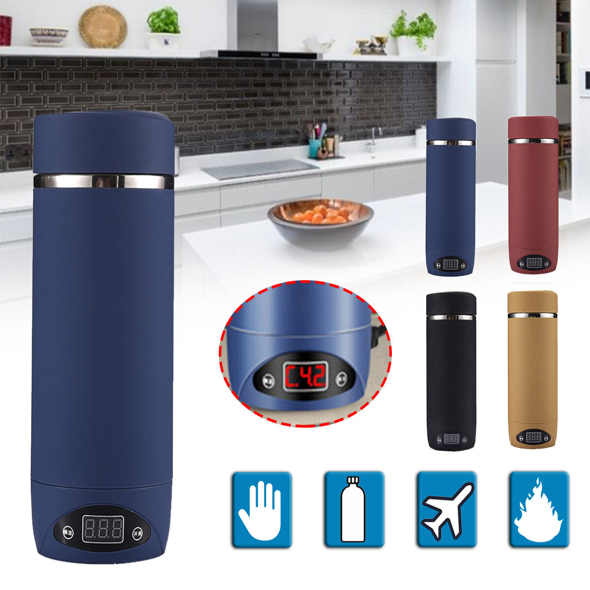 420ML Vacuum Insulated Bottles Outdoor Camping Hiking Traveling Boiling Mug Electric Kettle Heating Cup