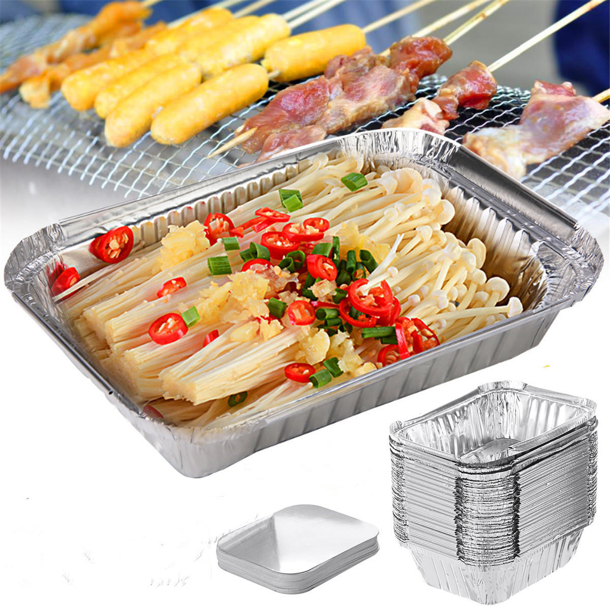 50PCS Aluminum Foil Trays BBQ Disposable BBQ Mat Food Container Baking Pan With Lids