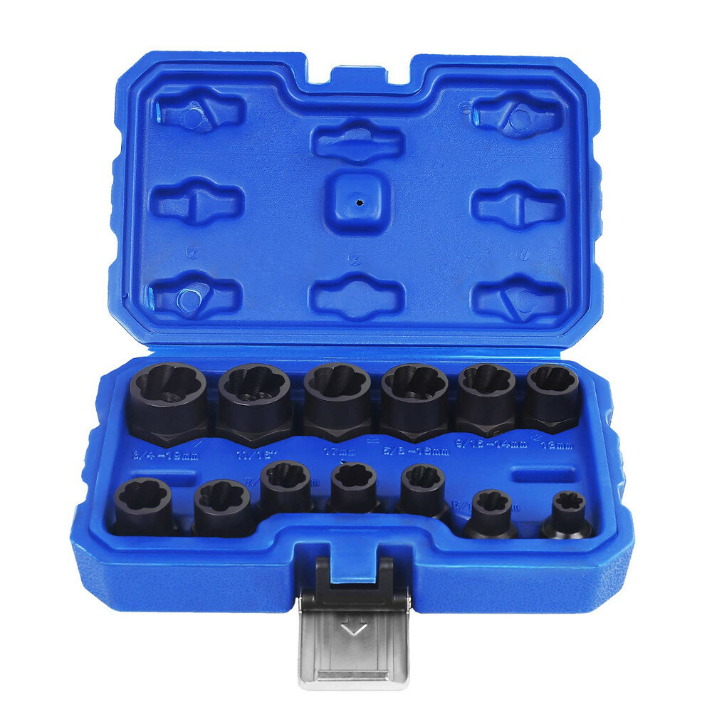 Drillpro 13Pcs Impact Damaged Bolt Nut Remover Extractor Socket Tool Set Bolt Nut Screw Removal Socket Wrench