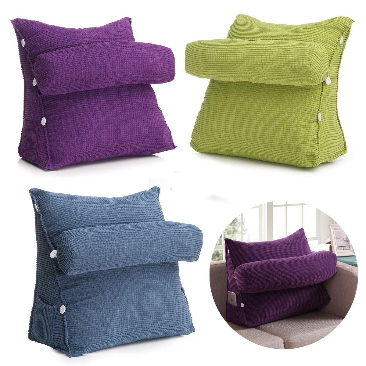 Adjustable Pearl Wool Back Wedge Pillow Reading Bedrest Rest Support Thwartwise Pain Relief  Cushion