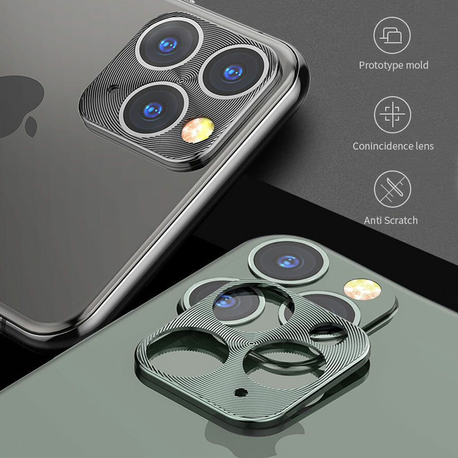 Bakeey Anti-scratch Metal Circle Ring Phone Camera Lens Protector for iPhone 11 Pro Max 6,5 tommer