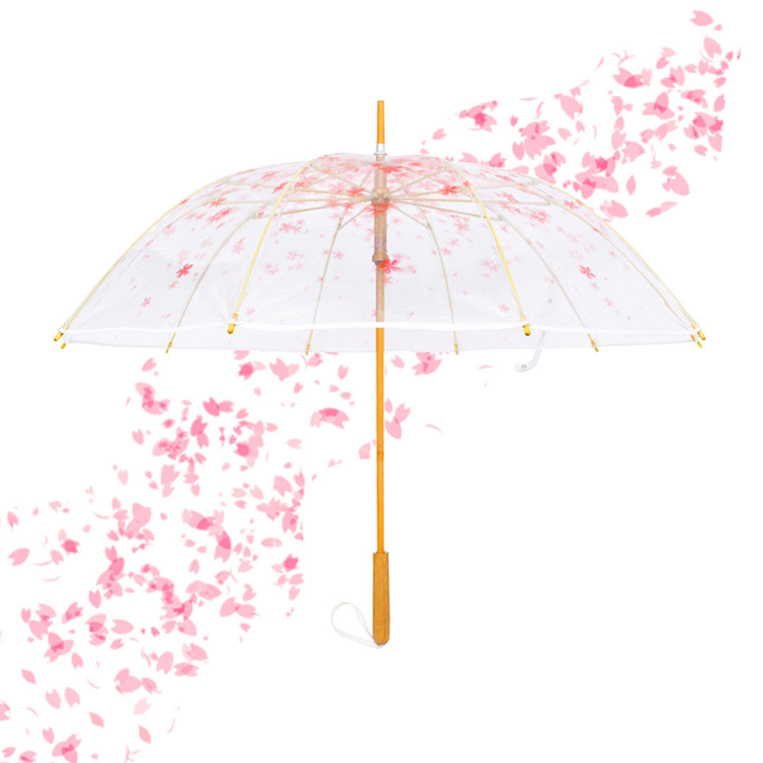 1-2 People Sakura Transparent Long Handle Stick Umbrella From Xiaomi Youpin