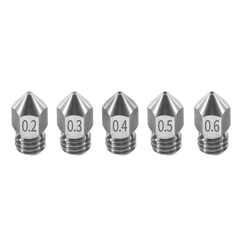 TWO TREES® 5PCS Сопло 0,2 мм / 0,3 мм / 0,4 мм / 0,5 мм / 0,6 мм M6 Резьба из нержавеющей стали для 3D-принтера с нитью