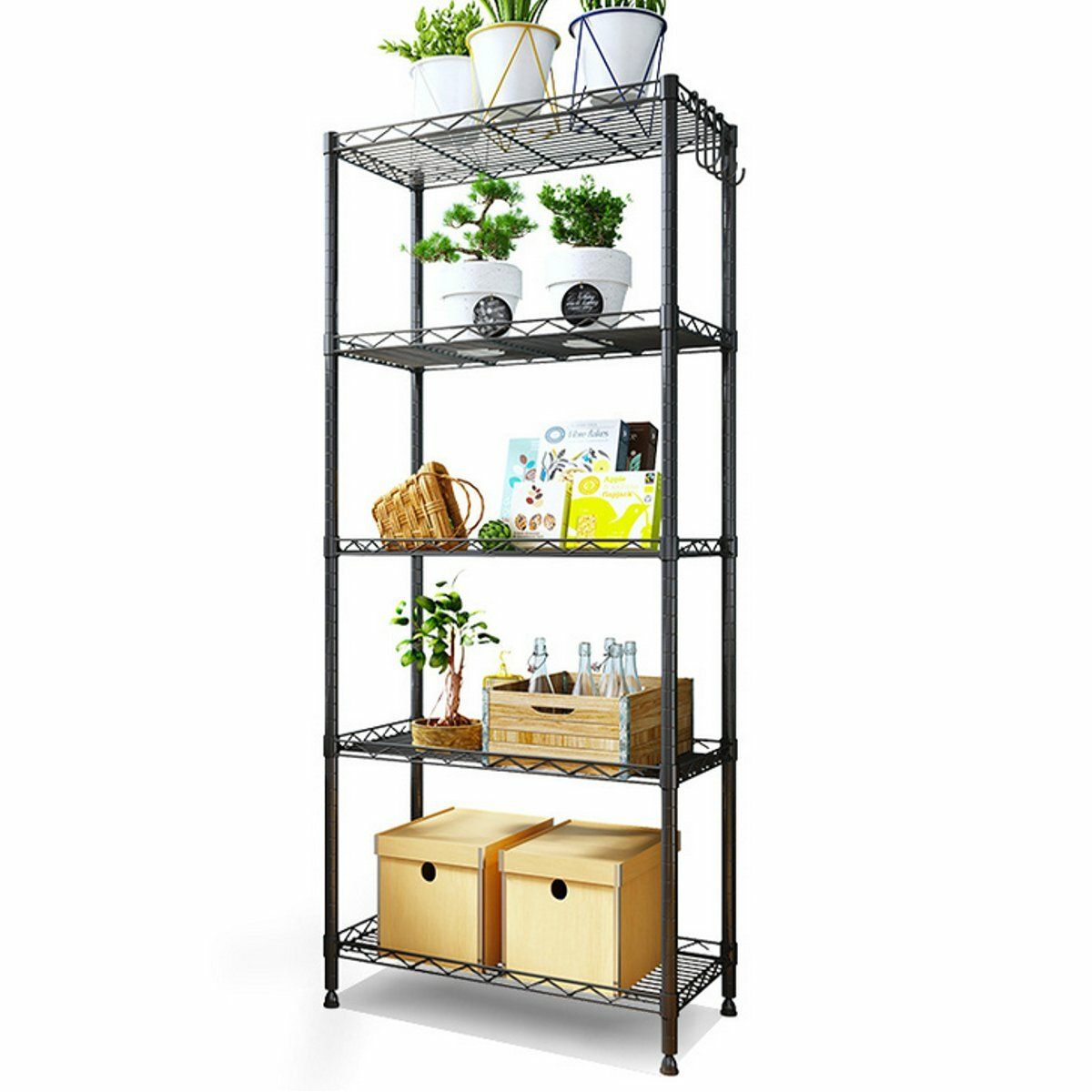 New 5 Tier Steel Wire Shelving Unit Metal Rack Home Kitchen
