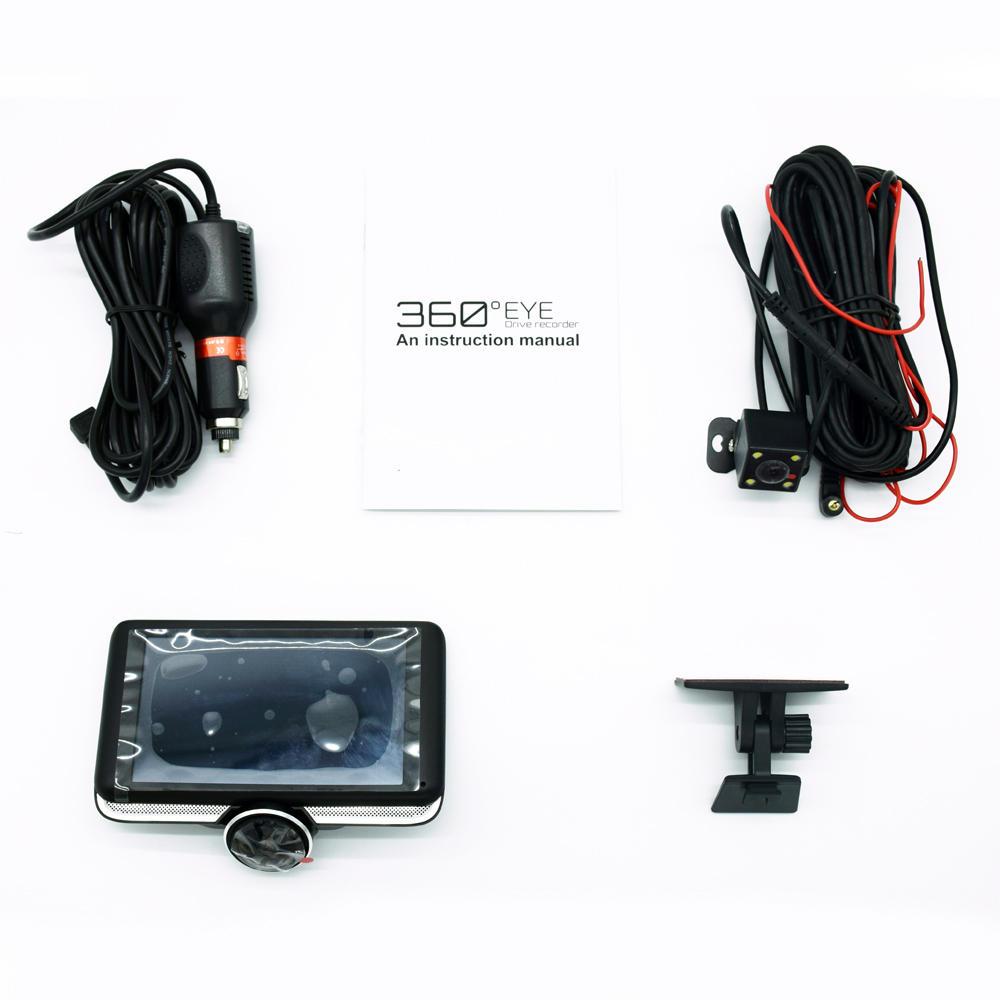 360°パノラマFHD 1080PナイトビジョンアンチグレアタッチカーDVR自動サイクル録画駐車モニター内蔵マイク付きリアカメラ付き