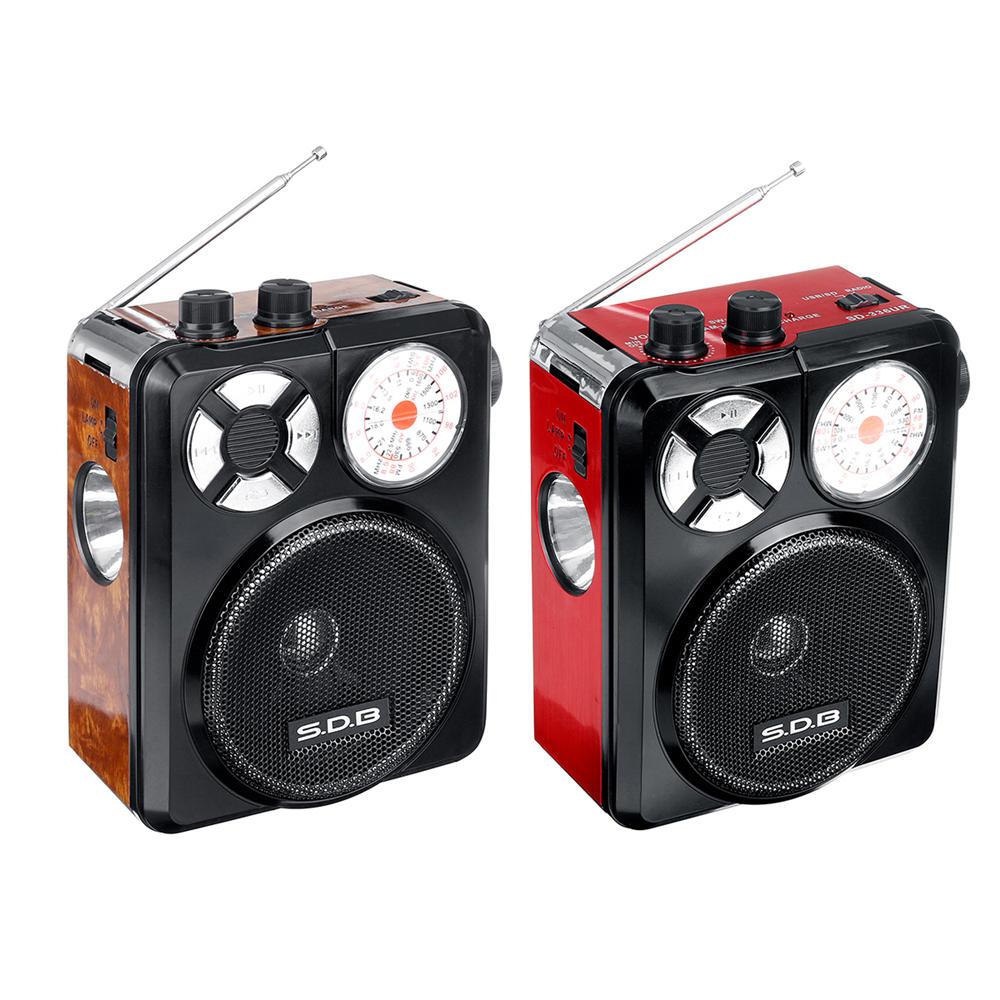 Bakeey 3.5mm AUX Full Banda Alta sensibilità FM AM Radio U Disco TF SD Lettore portatile con torcia ricaricabile