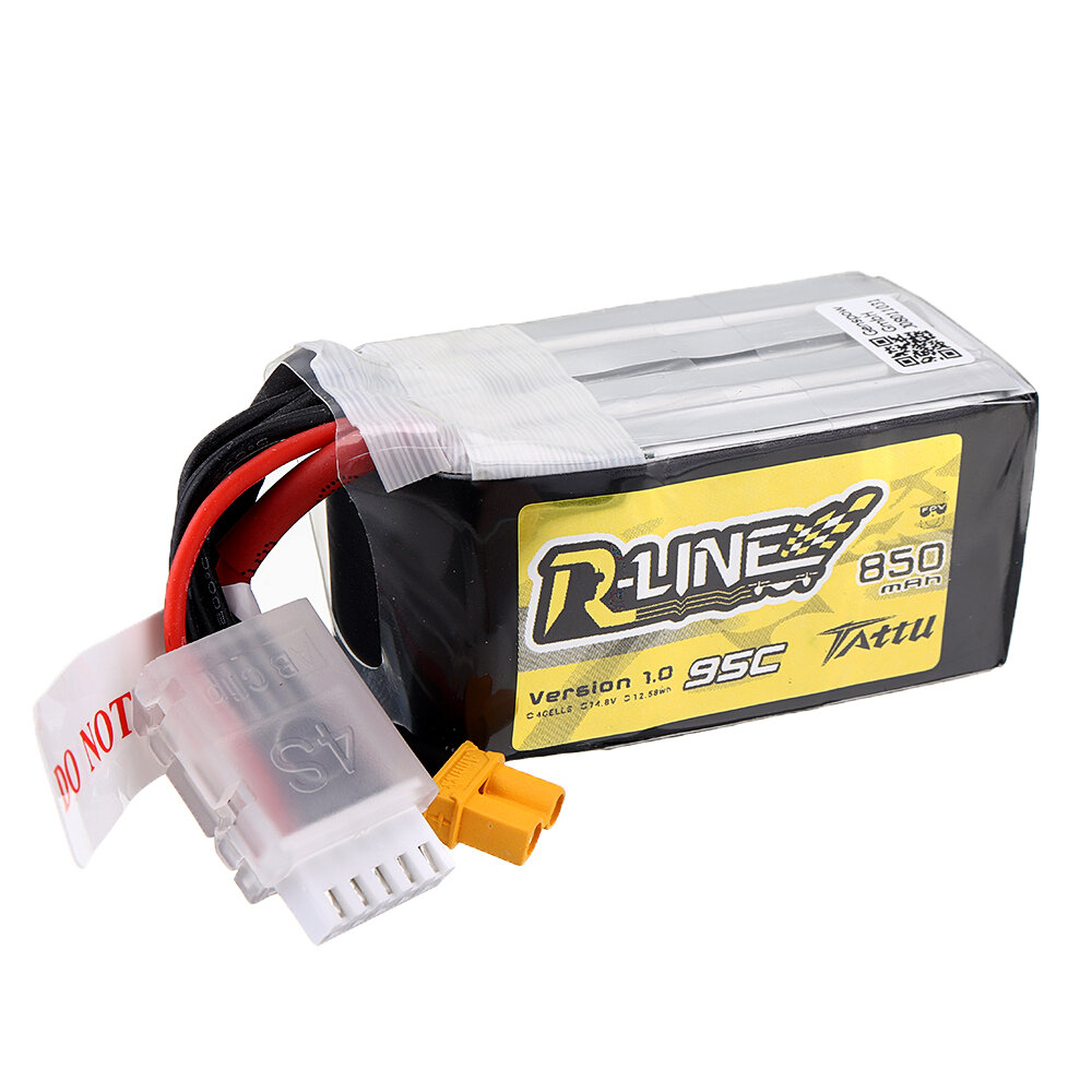 Tattu R-Line V1.0 14,8 В 850 мАч 95C 4S1P Lipo Батарея XT30 Штекер для RC Racing Дрон