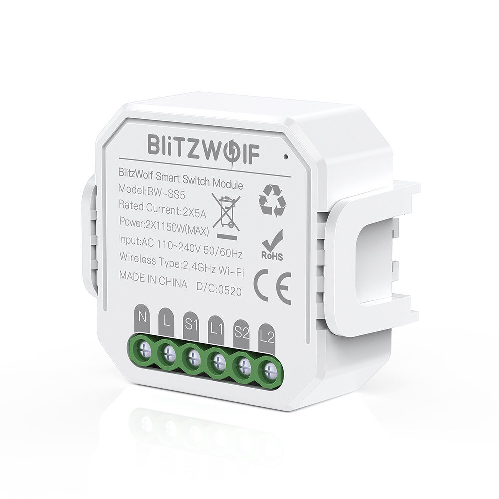 BlitzWolf� BW-SS5 1 Gang/2 Gang Two Way 10A 2300W WIFI Smart Switch Module APP Remote Controller Group Control Timer - 1 Gang