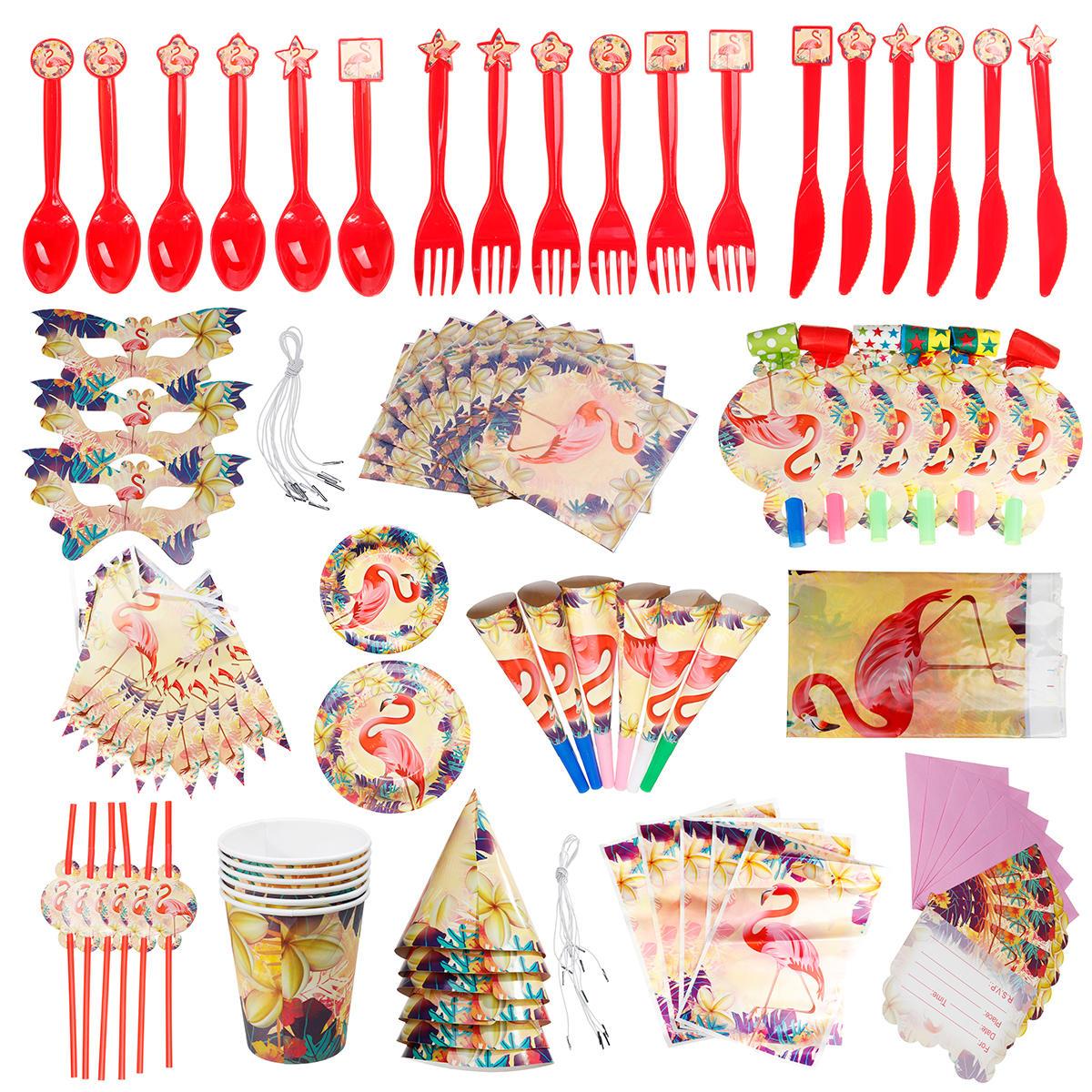 84Pcs Flamingo Kids Birthday Party Tableware Set Decor Plates Mask Paper Box Cup Decoration Toys