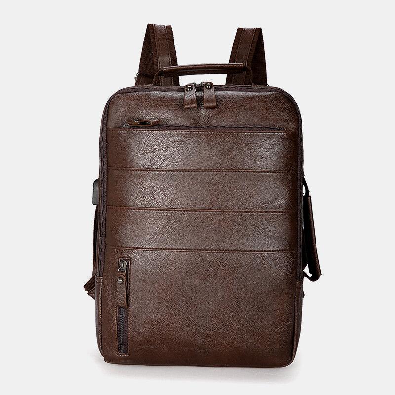 Men Faux Leather Large Capacity Backpack Handbag