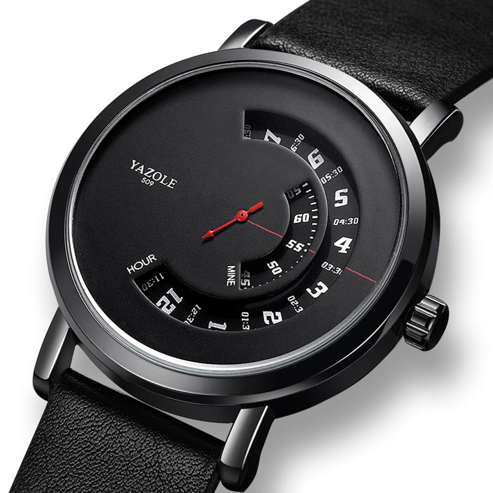 Yazole 509 Turntable Design Fashion Leather Strap Red Needle Men Casual Quartz Watch