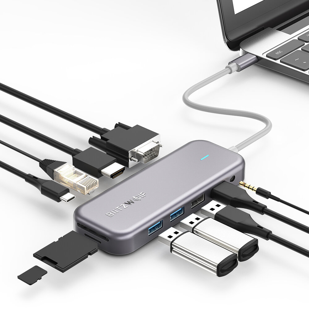 BlitzWolf® BW-TH8 11 in 1 USB-C Data Hub with 100W Type-C PD Power Delivery 2 USB3.0 & 2 USB2.0 4K@30HZ & 1080P@60HZ Resolution Stable Internet SD & TF Card Slot & Audio Sync Output