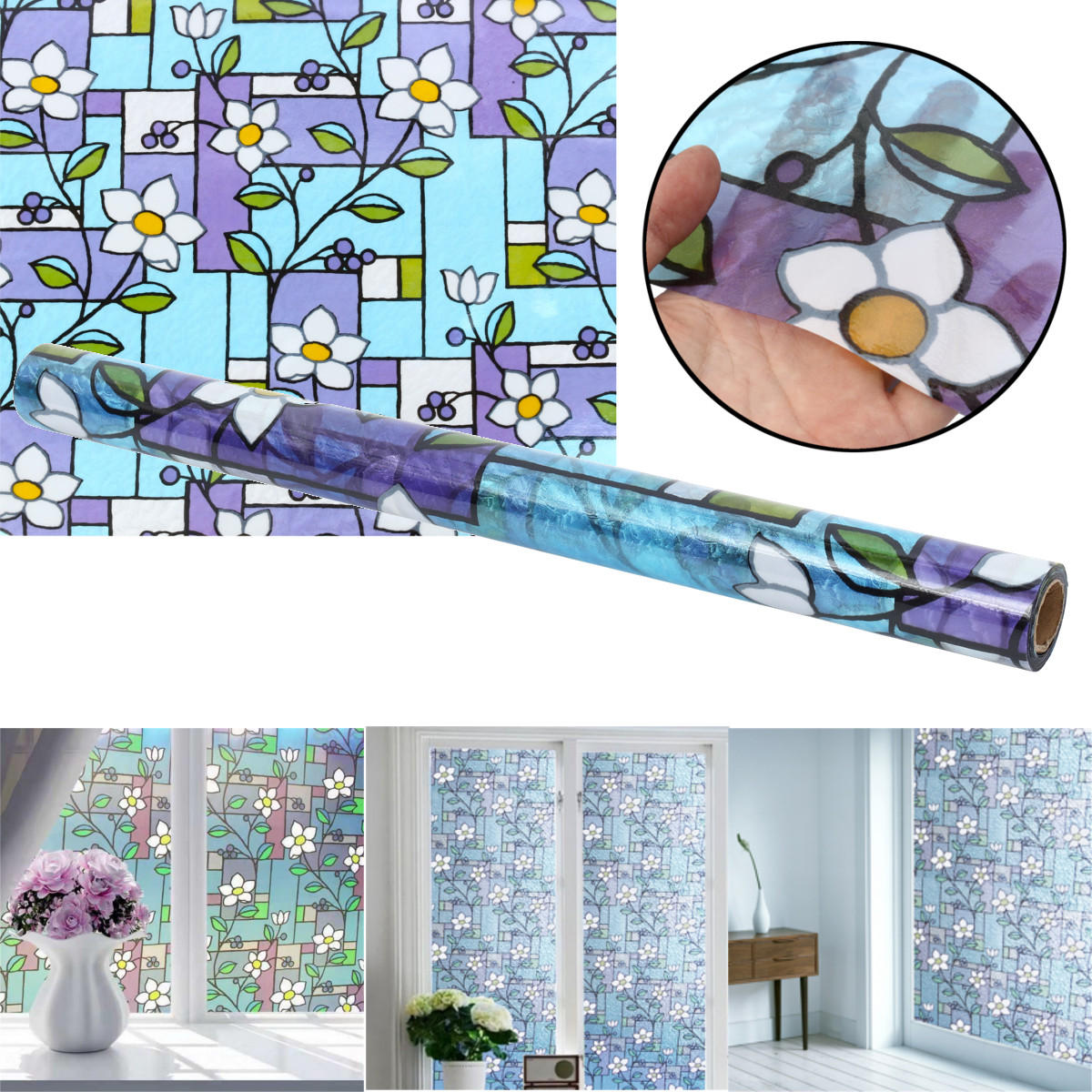 90cm*2m Static Cling Cover Frosted Window Glass Film Sticker Privacy Home Decor